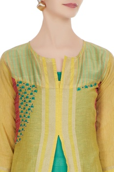 Yellow chanderi & jute jacket with mid-waist slit
