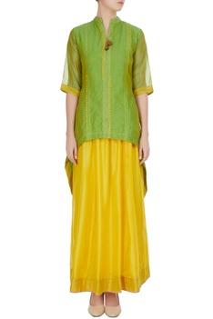 Green high-low kurta with yellow maxi skirt