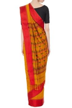 Yellow & orange handloom chanderi silk saree with unstitched blouse