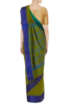 Blue & green woven chanderi silk saree with unstitched blouse