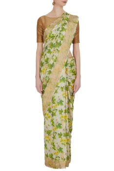 Ivory & green floral digital printed saree with unstitched blouse