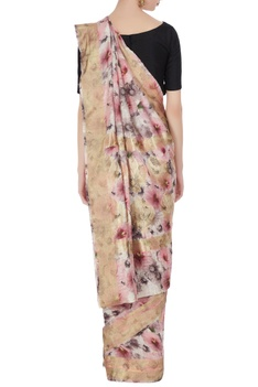 Ivory & rose pink floral digital printed handloom saree with unstitched blouse
