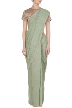 Sea green cross-stitch linen hand woven saree with unstitched blouse