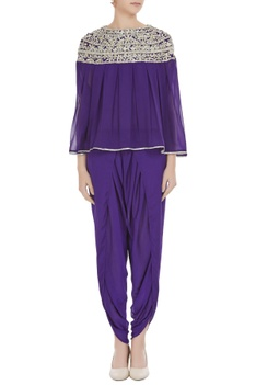 Purple georgette pearl embroidered pleated blouse with purple crepe dhoti pants