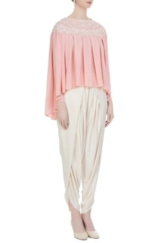 Light pink georgette pearl embroidered pleated blouse with cream crepe dhoti pants