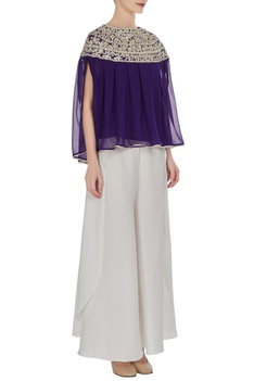 Navy blue georgette gota embroidered pleated blouse with crepe pants