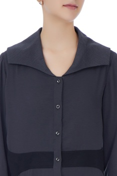 Grey & black button down shirt with exaggerated collar