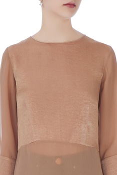 Beige satin long top
