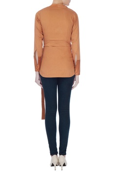 Rust brown cowl style blouse