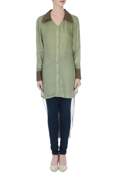 Olive & light green high low shirt