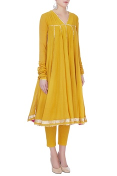 Mustard yellow cotton gotta patti kurta with pants