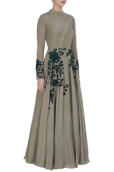 Grey crepe silk sequin embroidered gown