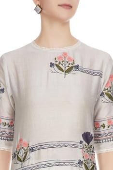 Glacier grey floral embroidered chanderi kurta