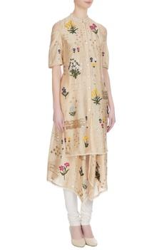 Sand beige floral embroidered kurta