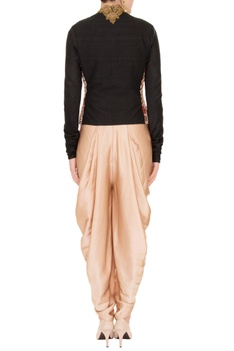 Nude waistcoat with dhoti pants & zardozi embroidered jacket