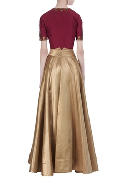 Embroidered blouse and flared lehenga skirt