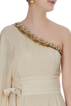 Ivory off-shoulder gown with sequin embroidery