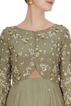 Grey embroidered yoke anarkali gown