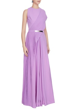 Lilac georgette gown with attached pleated drape