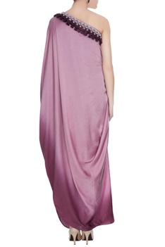 Lilac & purple satin one shoulder tassel draped gown