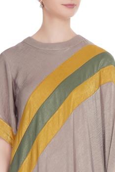Beige satin draped dress with yellow stripe detail