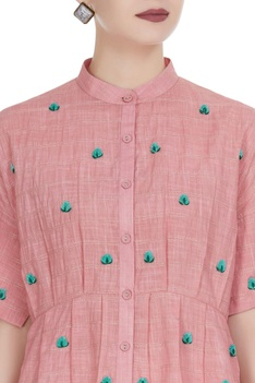 3D floral embroidered button down shirt