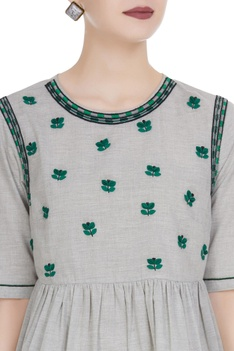 Hand cut leather cord embroidered blouse