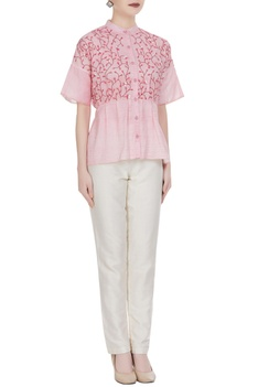 Leaf applique kota doria button down shirt