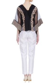 Sheer organza embroidered poncho blouse with inner