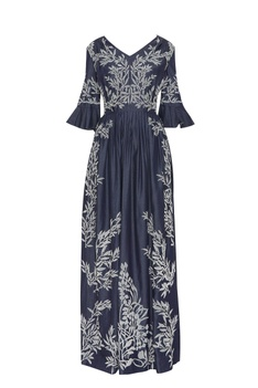 Pleated maxi dress with applique work