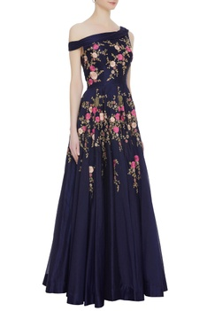 Flower embroidered gown