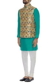 Printed brocade nehru jacket