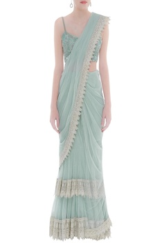 Net sari with embroidered blouse