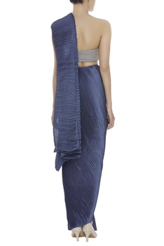 Pleated sari with Embroidered Bustier