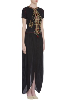 Hand embroidered dhoti jumpsuit