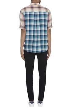 Checkered pattern shirt with slogan patch