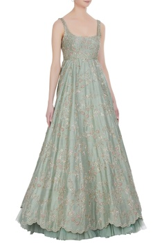 Raw silk sequin embroidered luxe gown