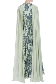 Flower print gown with drape dupatta