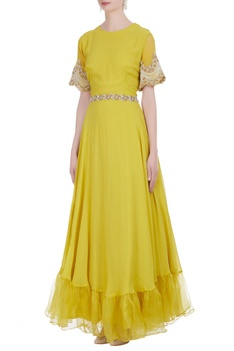 Floor length gown with embroidered sleeves
