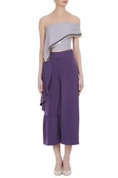 Ruffle off shoulder blouse & culottes