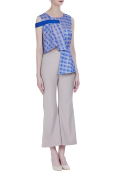Peplum textured blouse with mini flared pants