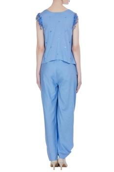 Asymmetric sequin tassel blouse with pants