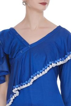 Drop shoulder ruffle blouse