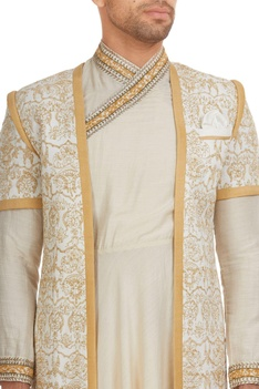 Tissue & matka silk aari hand embroidered sherwani set