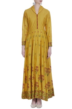 Block printed kurta with loop buttons