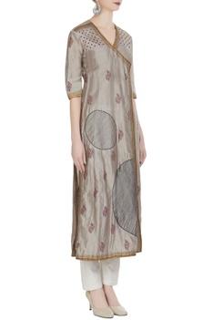 Jacket style kurta with circular prints