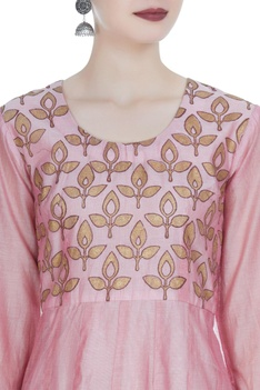 Anarkali kurta with block print