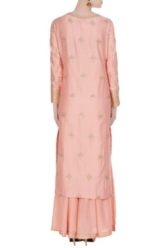 Gota embroidered kurta with sharara pant and dupatta