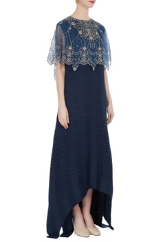 Maxi dress with embroidered cape top