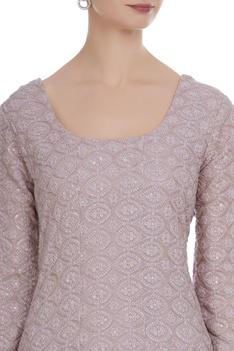 Lucknowi embroidered pure georgette short kurta set